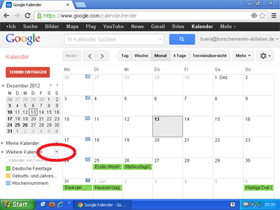 Google Kalender Screenshot 1